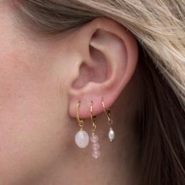 Oorringen - gemstones Rose Quartz - gold plated