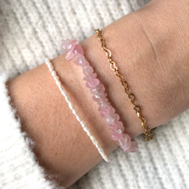 Armband - chip stones Rose Quartz - RVS gold