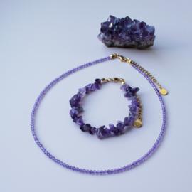Set - Ketting&Armband - chip stones Amethyst - RVS silver/gold