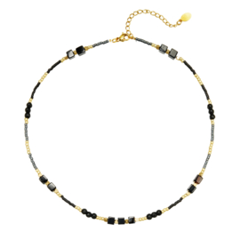 NECKLACE | BLACK STONES | GOLD PLATED