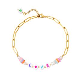 Anklet - Love - RVS gold