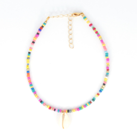 Mini Beads Anklet - Multicolor with Shell