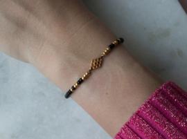 Beads Bracelet elastic - Black/gold
