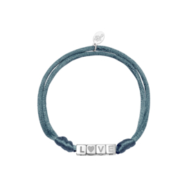 Armband - LOVE Grey/blue - RVS silver