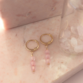 Jewelry in a Bottle - earrings Rose Quartz - gold plated