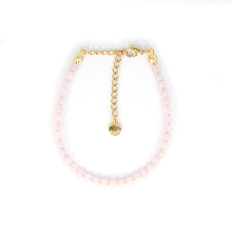 Armband - Rose Quartz - RVS gold
