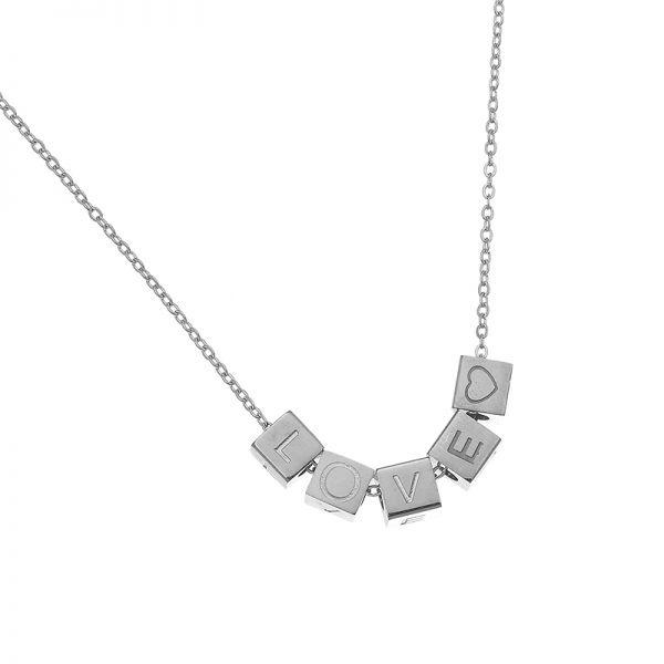 Ketting - Love Blocks - RVS silver
