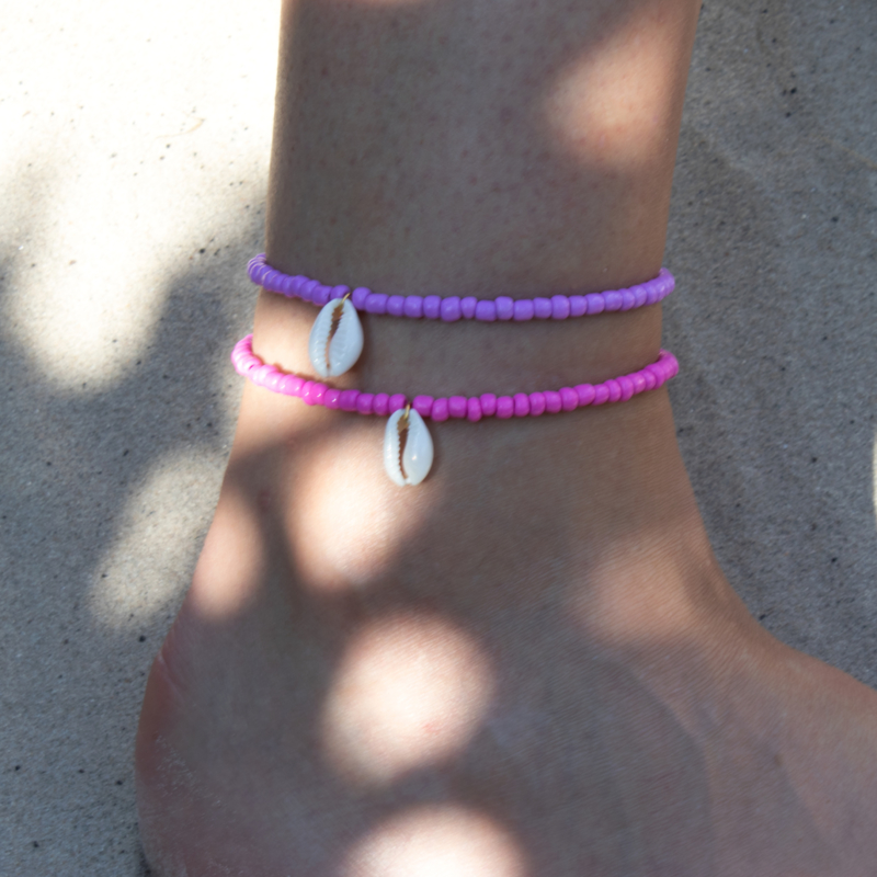 Beads Anklet - Shell - pink