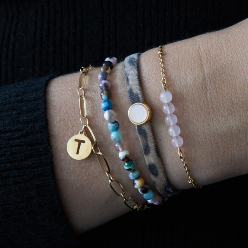 Rose Quartz Bracelet 1 - RVS silver/gold