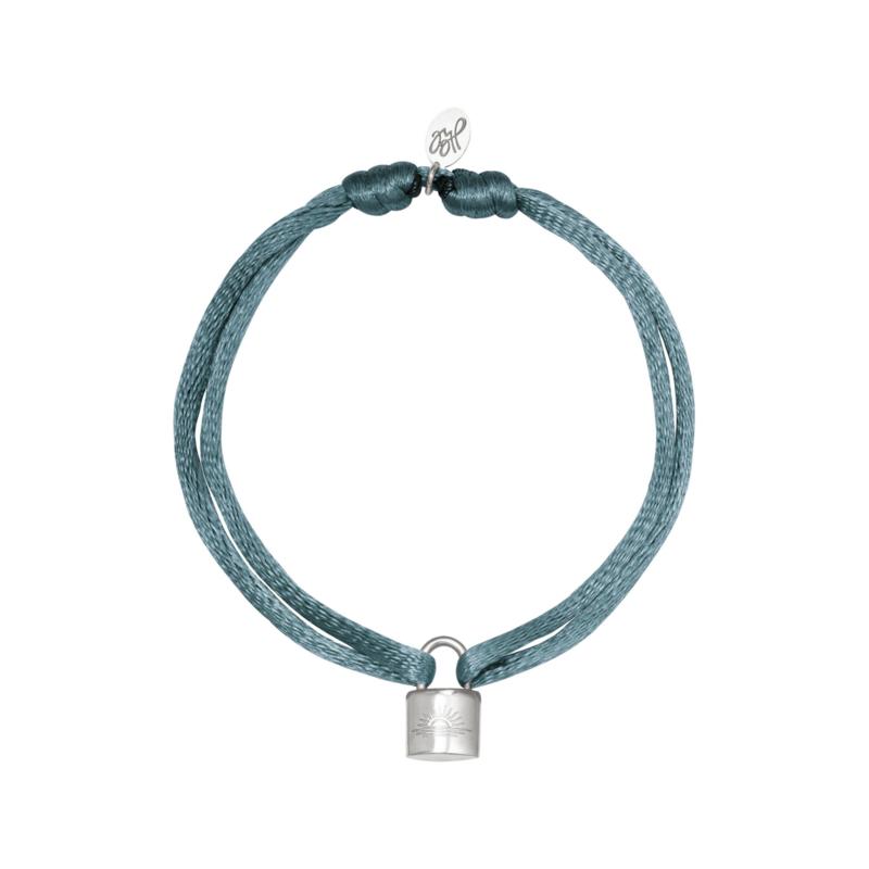 Armband - Lock Grey/blue - RVS silver