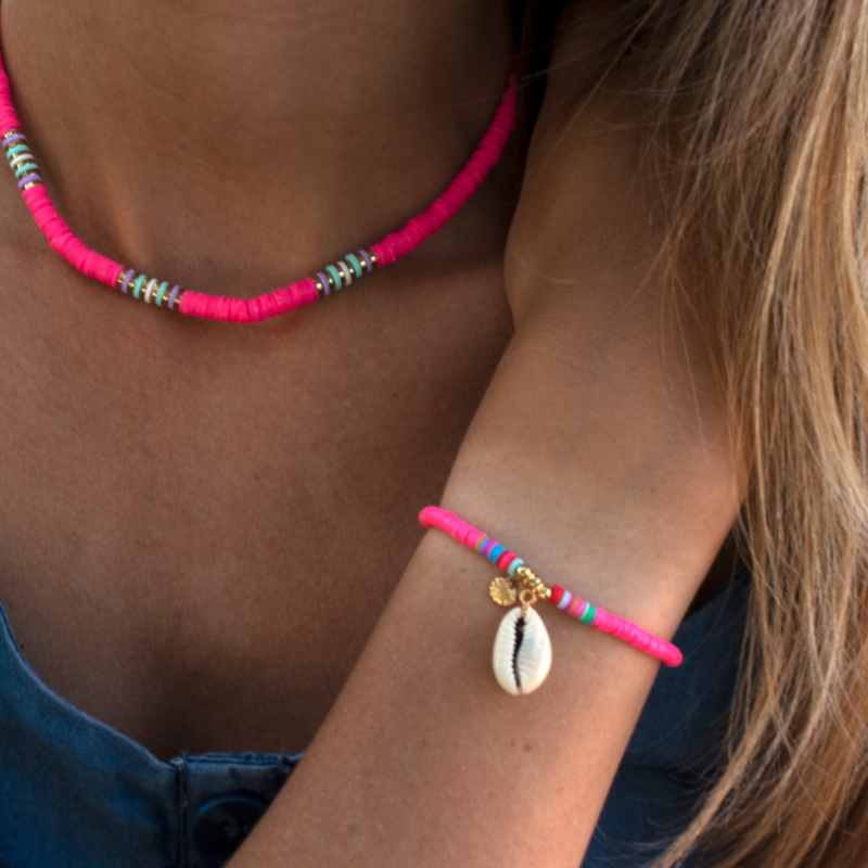 Summer Surf Necklace - neon pink