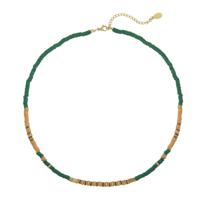 Necklace - Rubber Beads - Green 1