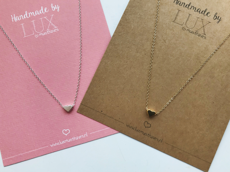 Short Necklace - Heart - silver/gold plated