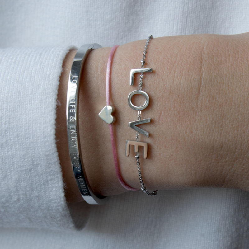 LOVE Bracelet - RVS silver/gold