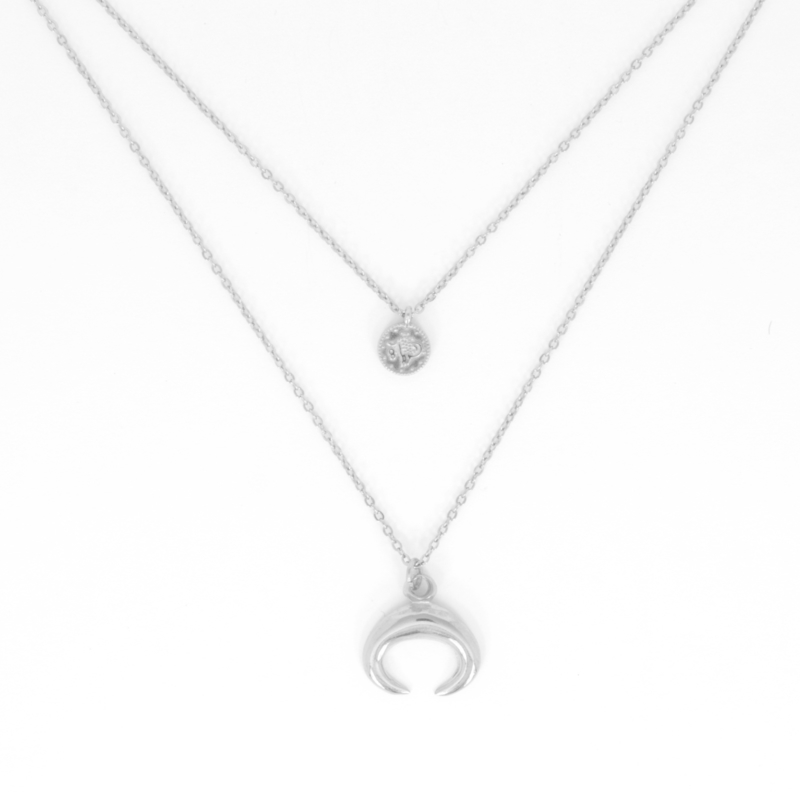Necklace Set - Coin + Horn - silver plated