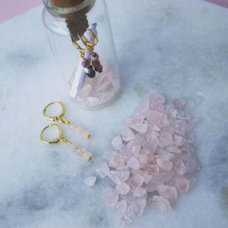 Jewelry in a Bottle - Earrings gemstones Agaat - silver/gold plated
