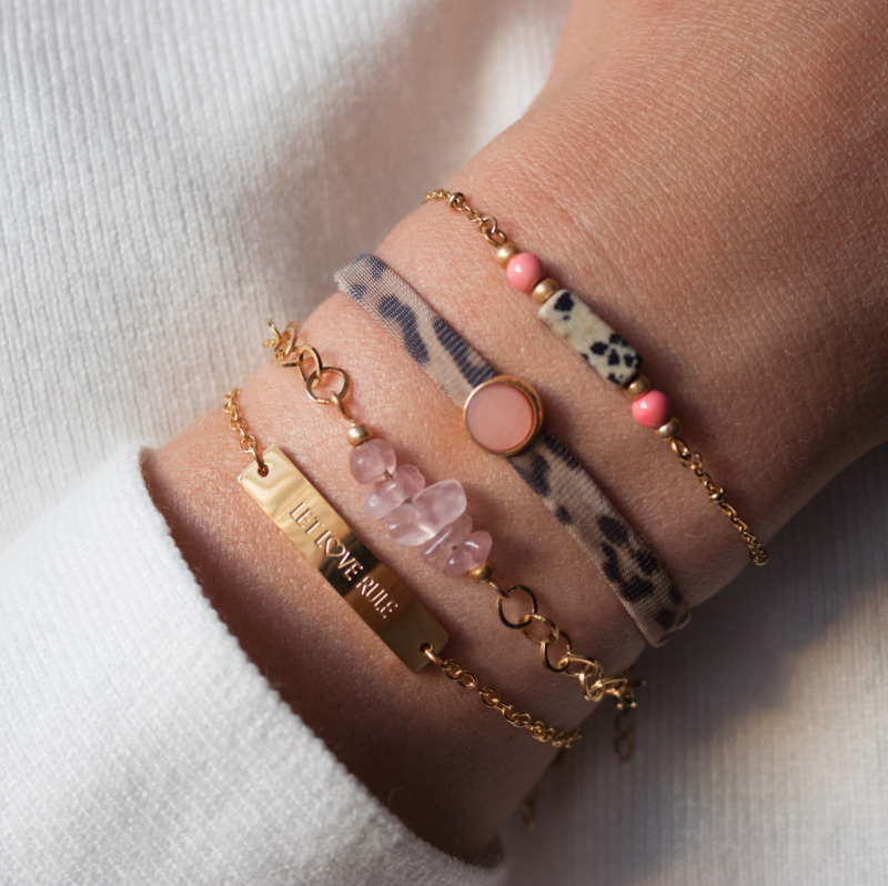 Rose Quartz Bracelet 2- RVS silver/gold