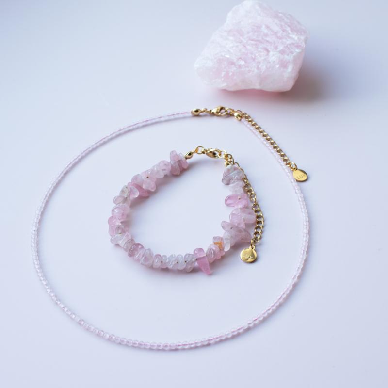Set - Ketting&Armband - chip stones Rose Quartz - RVS silver/gold