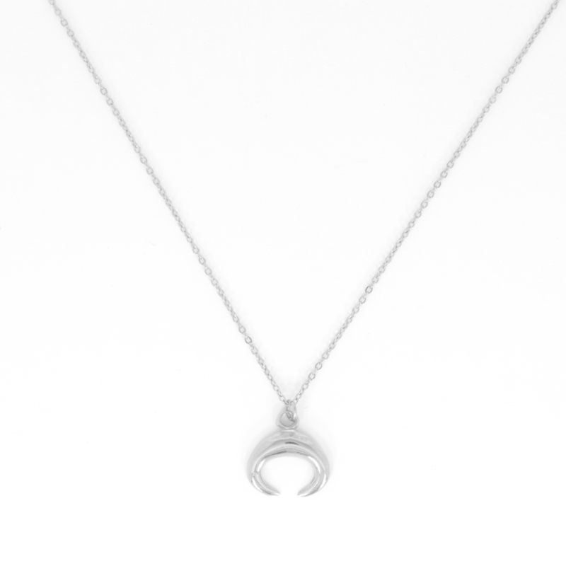 Long Necklace - Horn - silver plated