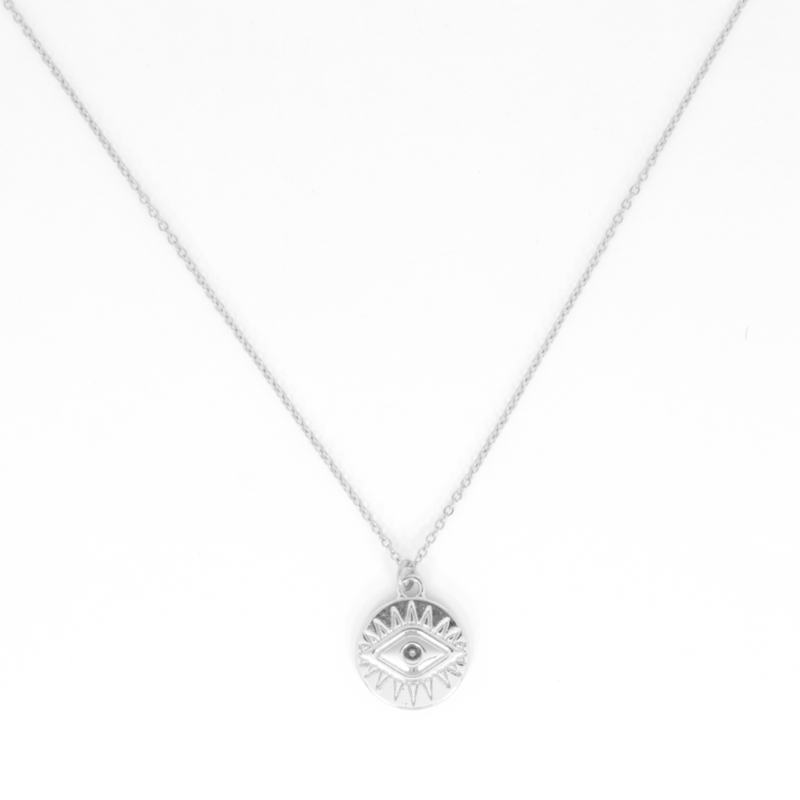 Long Necklace - Eye - silver plated
