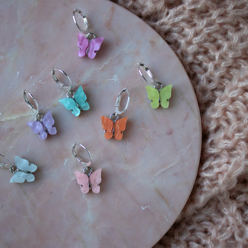 Oorringen - Butterfly - silver plated