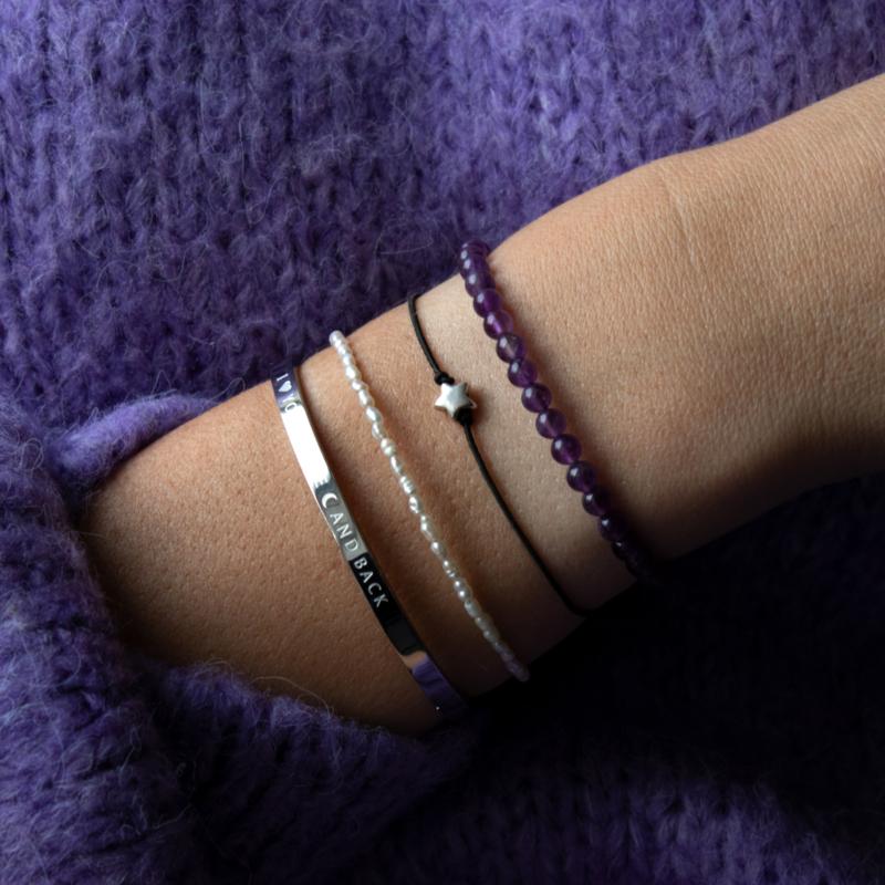 Armband - Amethyst - RVS gold