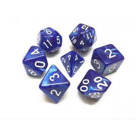 Blue pearl dice set white numbers