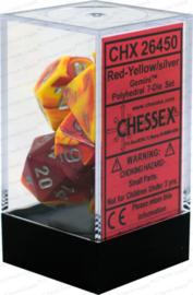 gemini dice set red-yellow/silver