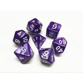Purple pearl dice set white numbers