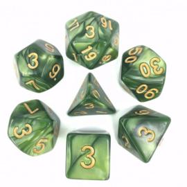 Grass green (Golden font) pearl dice set