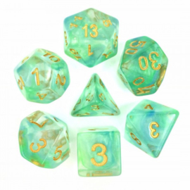 Pearl swirl dice set (Green /blue)