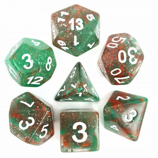 (Red + Green) Galaxy dice set white numbers