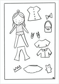 Kleur/knutselplaat - Meisje