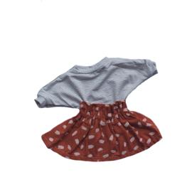 Setje rokje stippen en shirtje streep