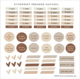 Stickers - zwanger - naturel