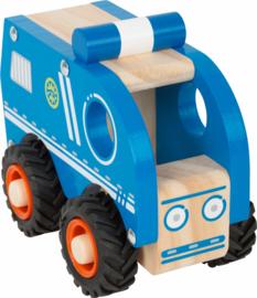 Houten PolitieBus met rubber wielen