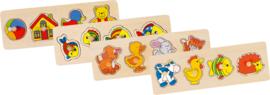Set 4 puzzelplankjes met knoppen