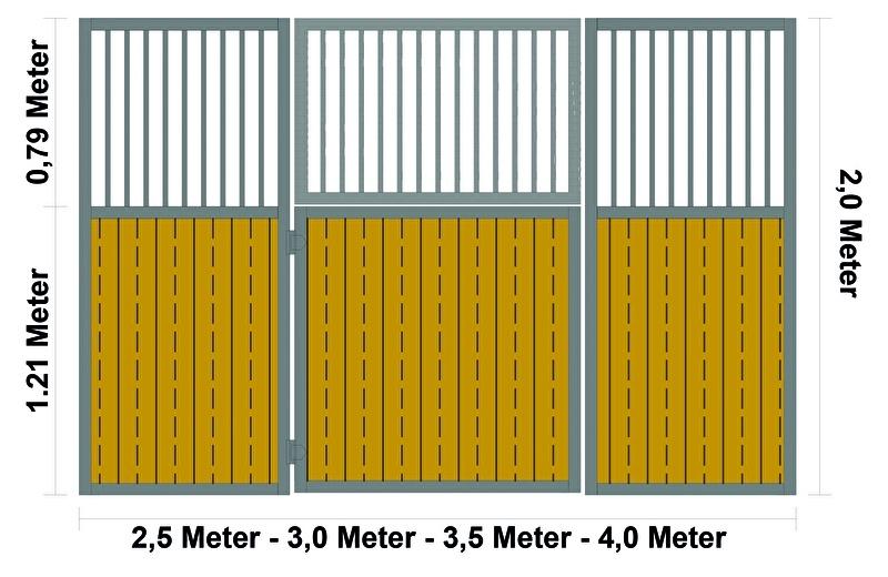 Voorwand recht met dubbele deur (meerdere maten)