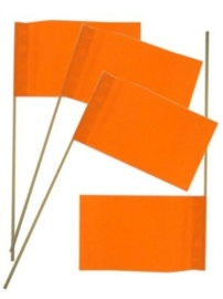 Papieren vlag op stok oranje