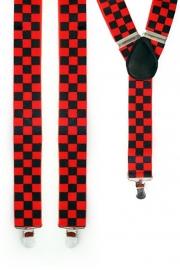 Bretels rood/zwart geblokt