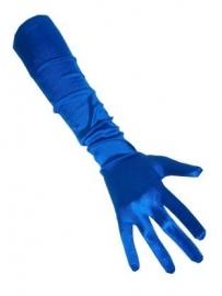 Handschoen lang blauw