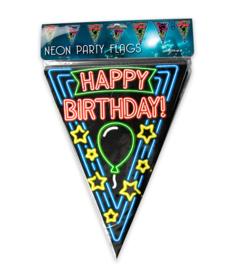 Neon vlaggenlijn Happy Birthday