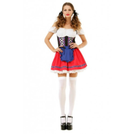 Tiroler jurkje rood\wit
