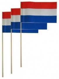 Papieren vlag op stok rood wit blauw