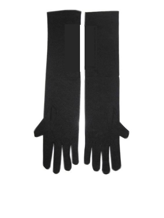 Stretch handschoen lang zwart