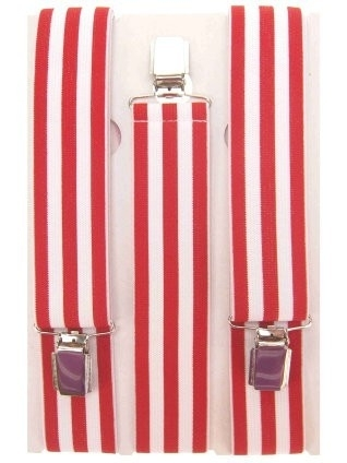 Bretels rood wit gestreept.