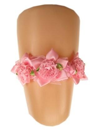 Kousenband roze + roosjes