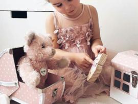 Huis speelkoffertje roze
