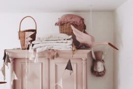 Linnen ooievaar poeder roze Love Me Decoration
