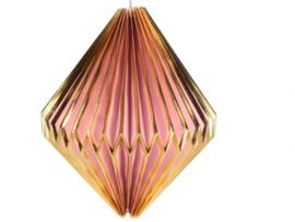 Lampion hanglamp roze/goudkl.